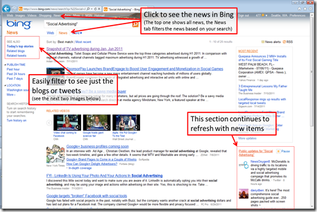 Bing Social Advertising News Search Results