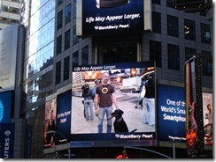 Brian and Milo on the big screen in Times Square