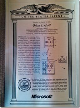 Brian's Patent Plaque